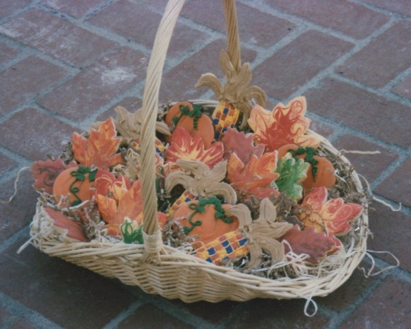decorated fall leaf cookies basket