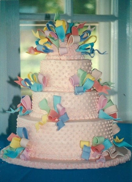 fondant ribbons on a tiered cake