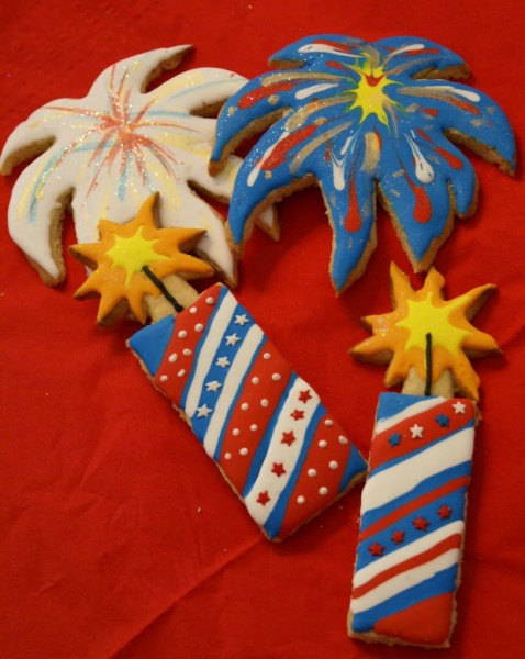 fireworks decorated cookies
