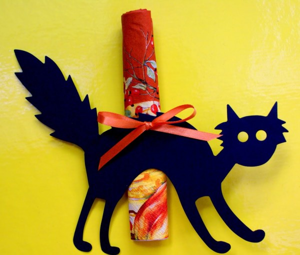 halloween cat napkin holder