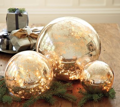pottery barn lit mercury glass globes