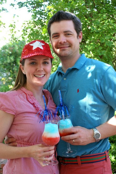 4th of july party with red white blue cocktails
