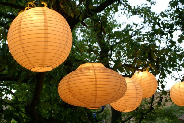 paper lanterns in the trees
