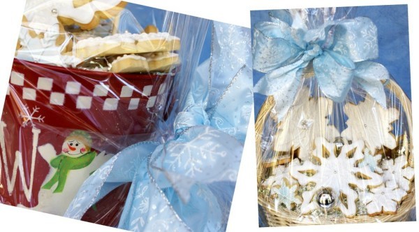 decorated snowflake cookies gift baskets