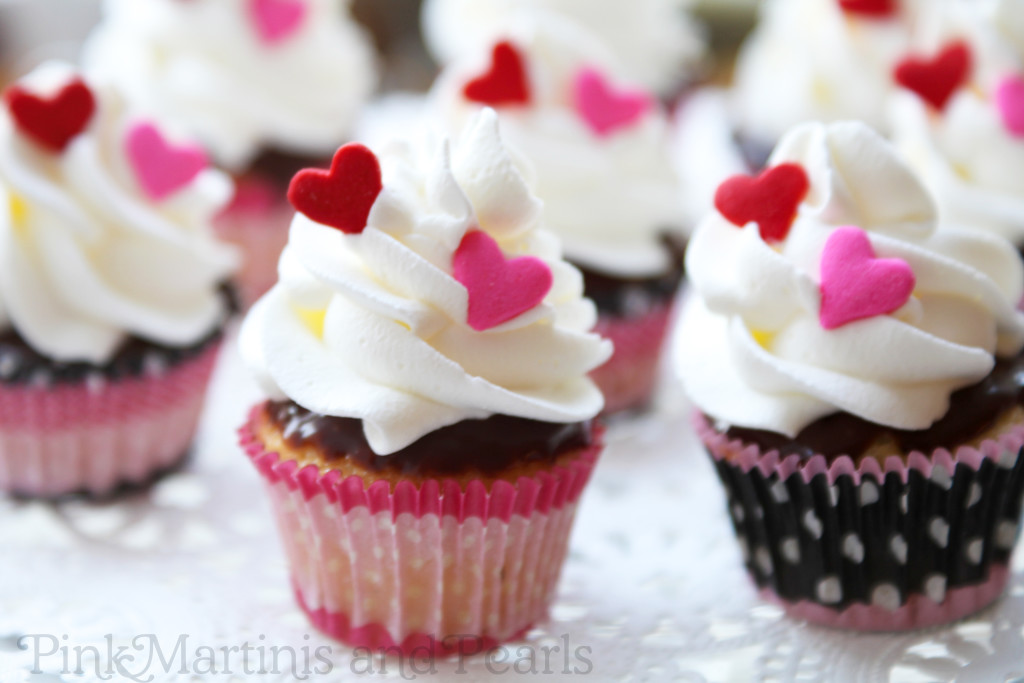 mini boston cream cupcakes with hearts