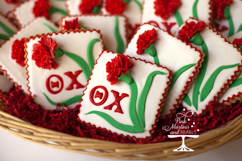 Theta Chi Decorated Carnation Cookies