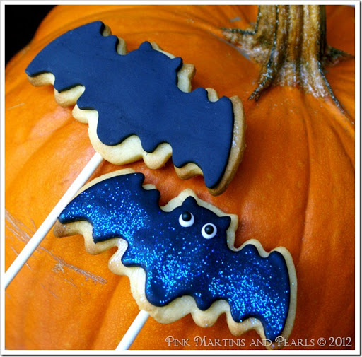 decorated bat cookies with fondant