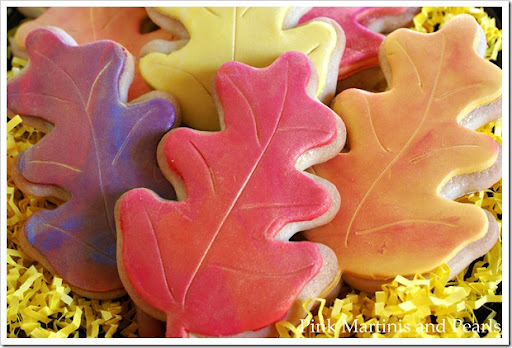 Decorated Fall Leaf Cookies with fondant