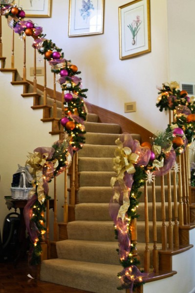 stair bannister holiday decorations