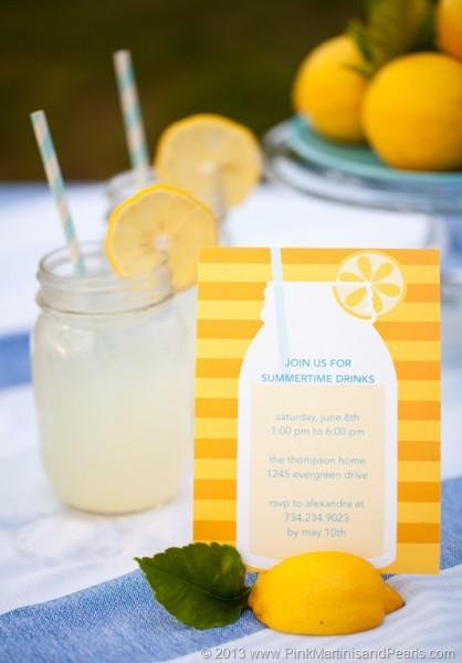 Lemonade Love Invitation tiny prints