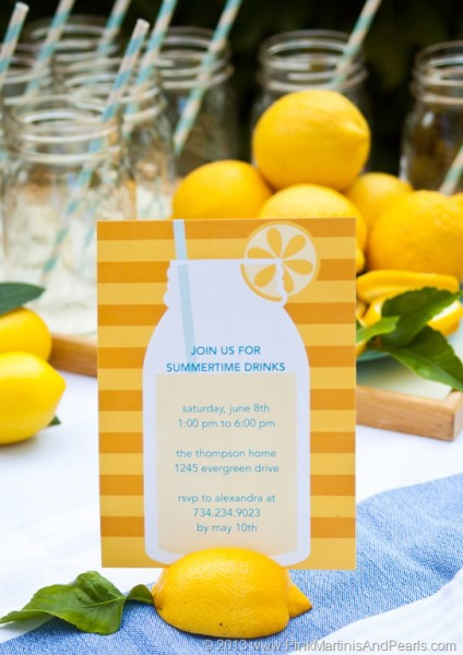 Lemonade Love Invitation Jars tiny prints