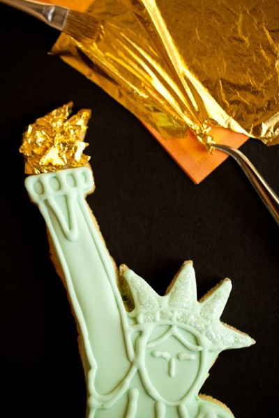 Statue of Liberty Cookies Gold Leaf Torch