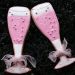 Pink Champagne Glass Decorated Cookies