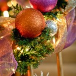 Pink and Orange Holiday Banister Decorations
