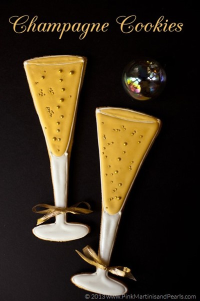 Decorated Champagne Glass Cookie Party FavorsDIY
