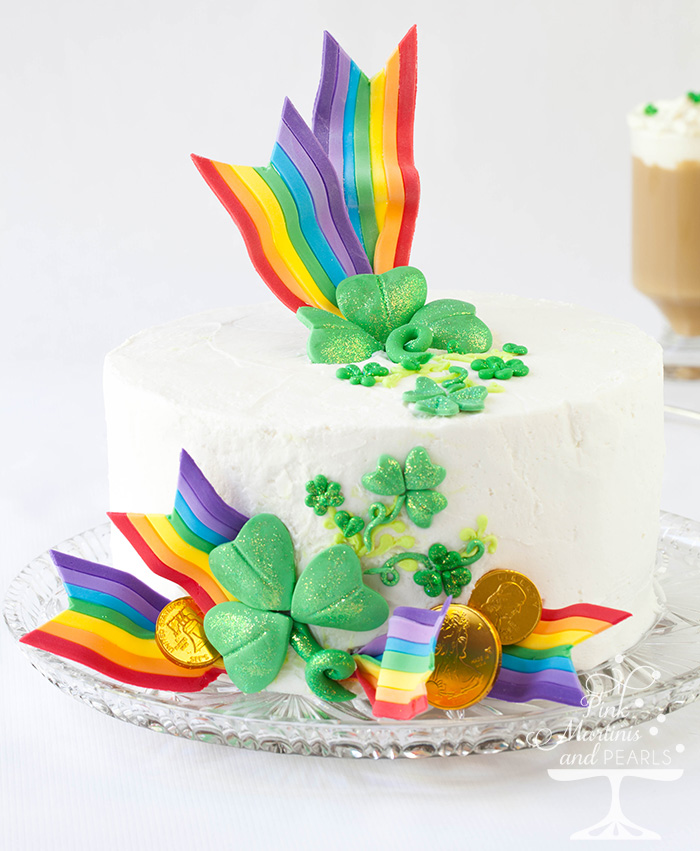 St Patrick S Day Cake With Diy Fondant Rainbow Ribbons