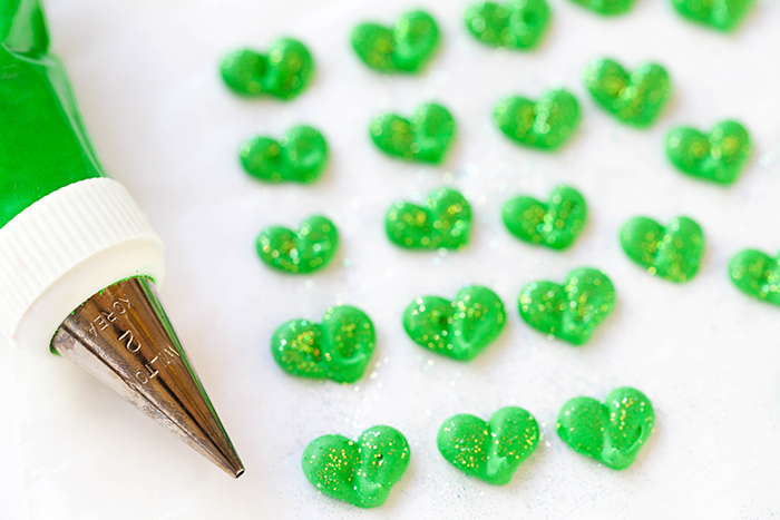 St. Patrick's Day Cake royal icing shamrocks