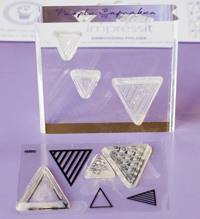 Acrylic stamping set pennants purple cupcake