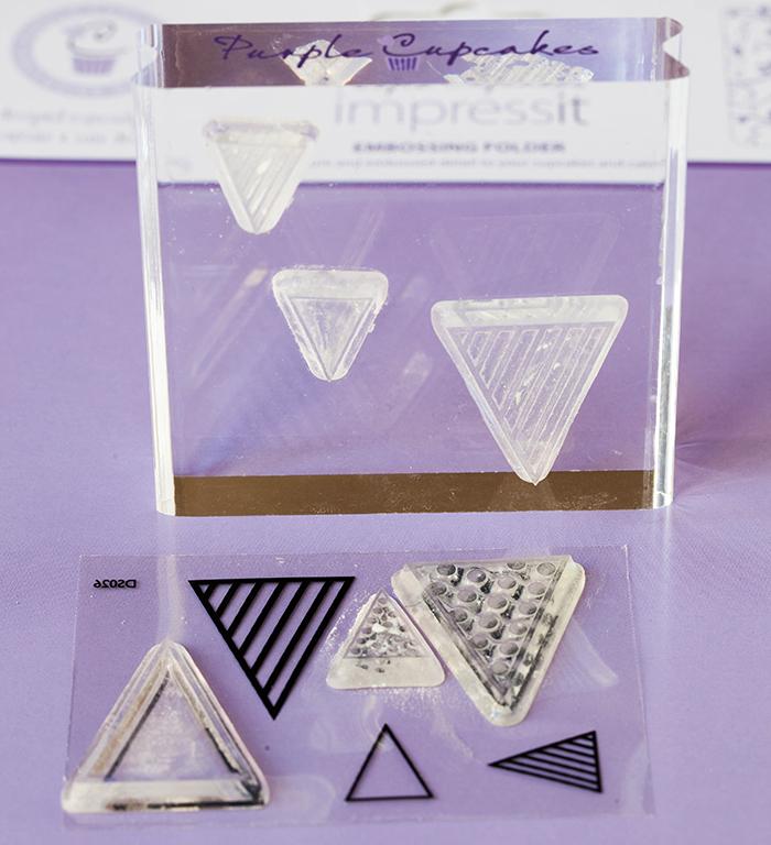 Acrylic stamping set pennants purple cupcake