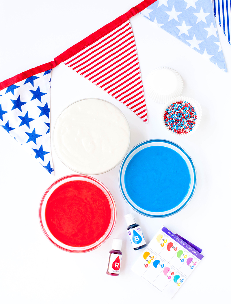 Wilton Color Right Red White and Blue Cupcakes